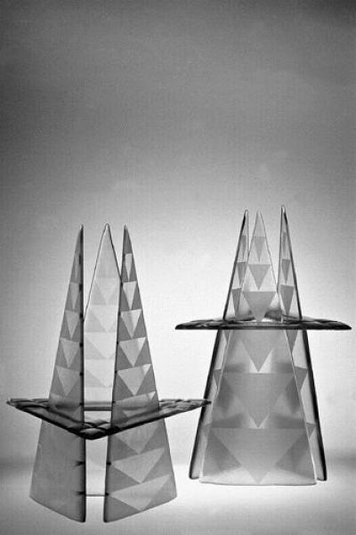 Eve Koha - 34 + 22 triangles, 1999, glass, melting, sand etching