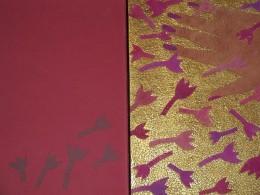 """Tiina Piisang – Köide. Doris Kareva """"Armuaeg. Days of Grace"""" (2000, vasikanahk, käsitsi maalitud seakroomnahk, siidniit, metallikniit, fooliokuldamine, aplikatsioon, vabatikand, ažuurtehnika, 29.7 x 21.2 cm)"""