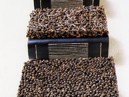 Pille Kivihall – Scented pepper books (1998, original techniques, chrome-tanned leather, cloves, pepper, allspice, 14 x 11 cm). Photo Ingmar Muusikus