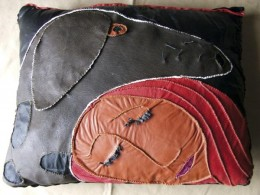 "Maarja Undusk – Leather pillow ""Setting"" (2005, leather, hand-stitched, 40 x 45 cm)"