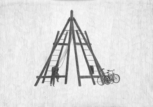 """Installatsioon """"Mis juhtus rannas"""" (2006, joonistus, tekst, 71 x 96 cm)"""