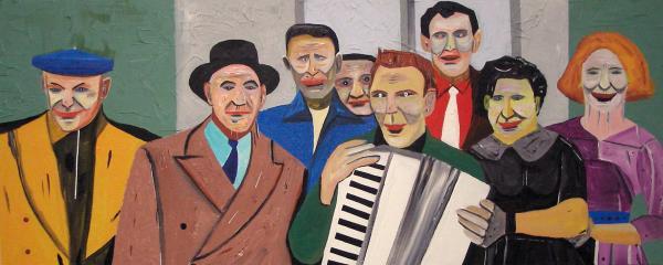 August Künnap. Lõbus seltskond (2007, akrüül lõuendil, 47 x 117 cm)
