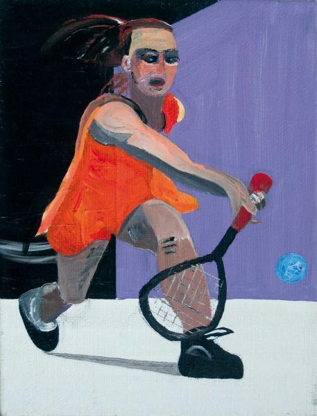 August Künnap. Pühapäeva squash´imängija (2003, akrüül lõuendil, 50 x 35 cm)