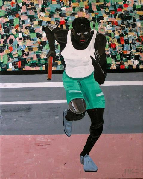 August Künnap. Teatejooksja (2006, akrüül lõuendil, 133 x 103 cm)