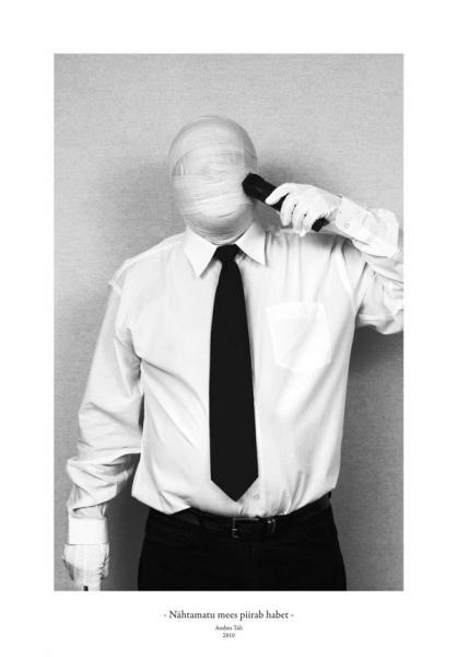 Andres Tali. Nähtamatu mees piirab habet (2010, digitaaltrükk, 125 x 165 mm)