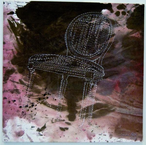 Laura Põld. Falling: Catching Myself Falling (2011, akrüül, tekstiil, tikand, 70 x 70 cm)