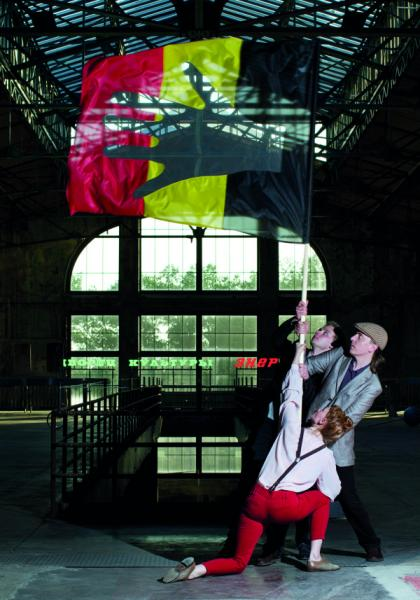 Visible Solutions OÜ. Lipu heiskamine. Foto-performance, 1.06.2012, Manifesta 9, Genk (A4 värvifoto)