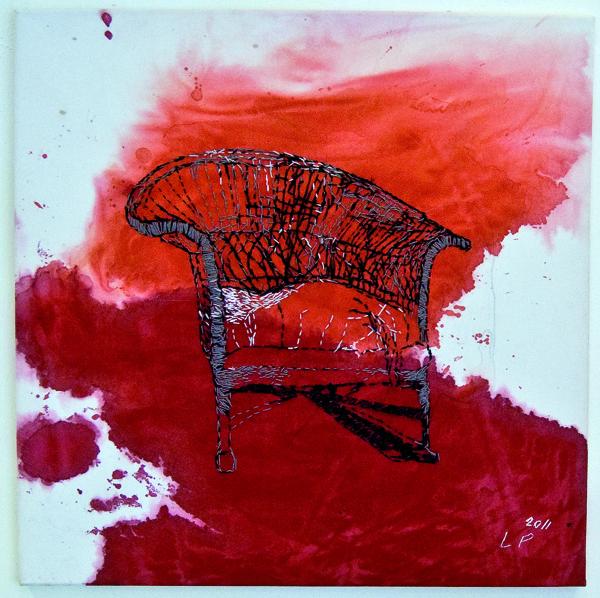Laura Põld. Feeling Worn Out (2011, akrüül, tekstiil, tikand, 70 x 70 cm)