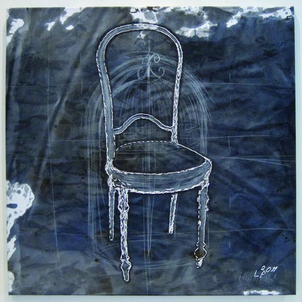 Laura Põld. Feeling New (2011, akrüül, tekstiil, tikand, 70 x 70 cm)