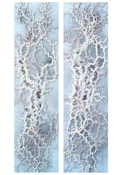 """Siim-Tanel Annus – Two paintings from the series """"Witchcraft of growing"""" (2008, acrylic on canvas, 45 x 170 cm)"""