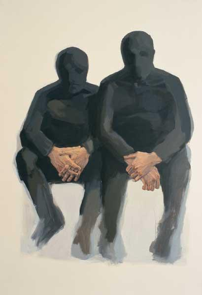 Alice Kask - Two men sitting (2003, oil, canvas, 145 x 210 cm)
