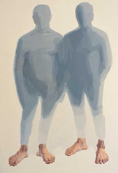 Alice Kask - Two figures standing (2003, oil, canvas 145 x 210 cm)