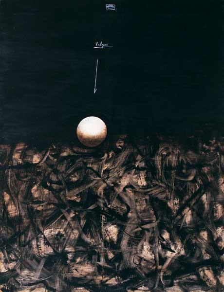 Valeri Vinogradov - Composition with a ball (2000, oil, canvas, 137 x 105 cm)