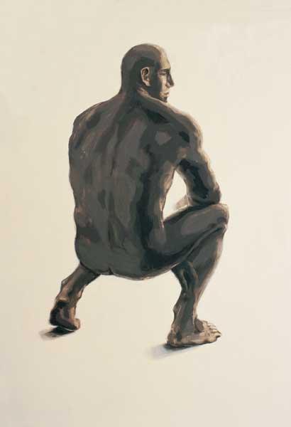 Alice Kask - Man squatting (2002, oil, canvas, 145 x 210 cm)