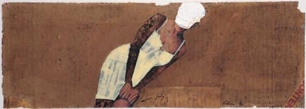 Valeri Vinogradov - Small Estonian Dictionary (1997, oil, cardboard, collage, 18 x 50 cm)