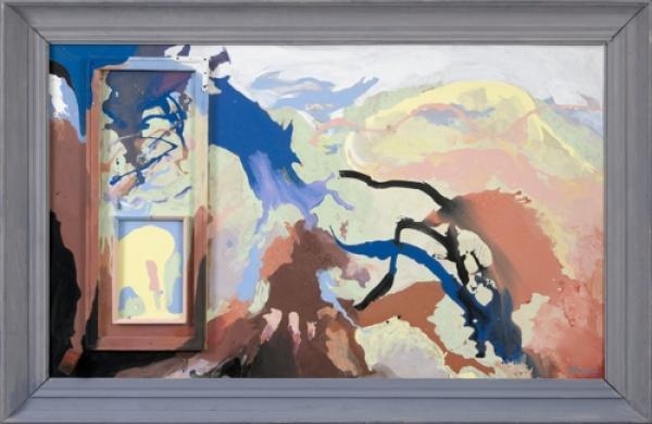 Lola Liivat – In Debt to Võrumaa (2007, acrylic, assemblage/hardboard, 100 x 164 cm). Reproduction: Stanislav Stepaško