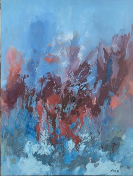 Lola Liivat – New Awakening (2002, oil/canvas, 159.3 x 120 cm). Reproduction: Stanislav Stepaško 157