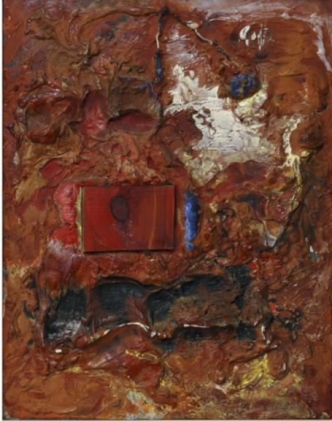 Lola Liivat – An Object (1969, oil, plaster, wood/plywood, 54.5 x 42.5 cm; Tartu Art Museum). Reproduction: Malev Toom