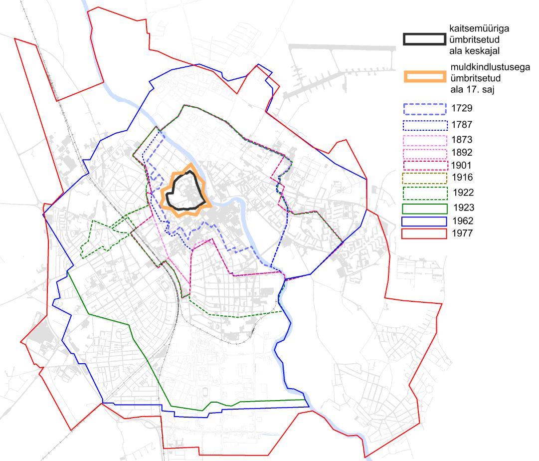 JOONIS 1. Tartu linnasarase kujunemine. Allikas: Marksoo (2005, 139)