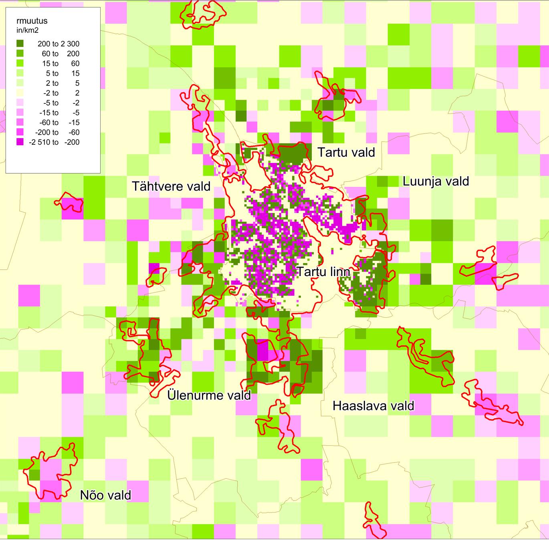 JOONIS 2. Rahvastikutiheduse muutus aastatel 2000–2011 Tartu lähiümbruses. Punase kontuuriga on näidatud statistikaameti määratletud tiheasustusalad. Allikas: statistikaamet (2014)