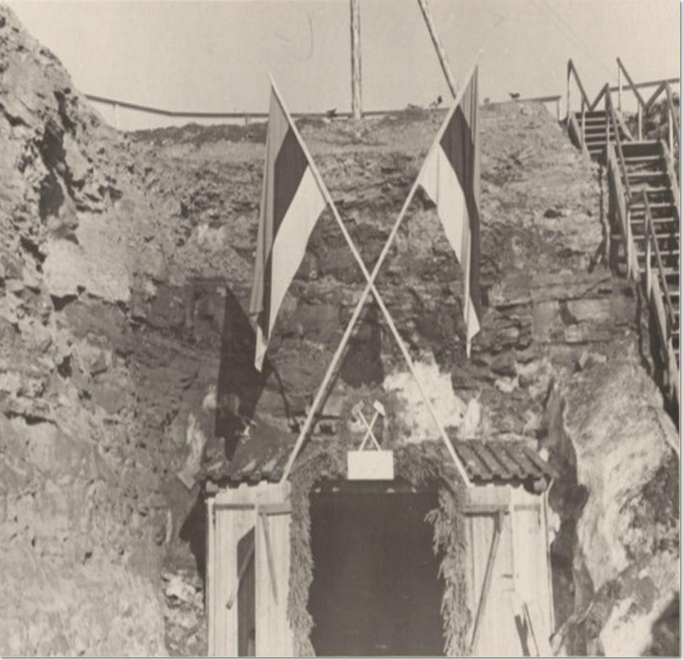 Maardu fosforiidi allmaakaevanduse avamisel märtsis 1940. Allikas: Eesti Foto- ja Filmiarhiiv