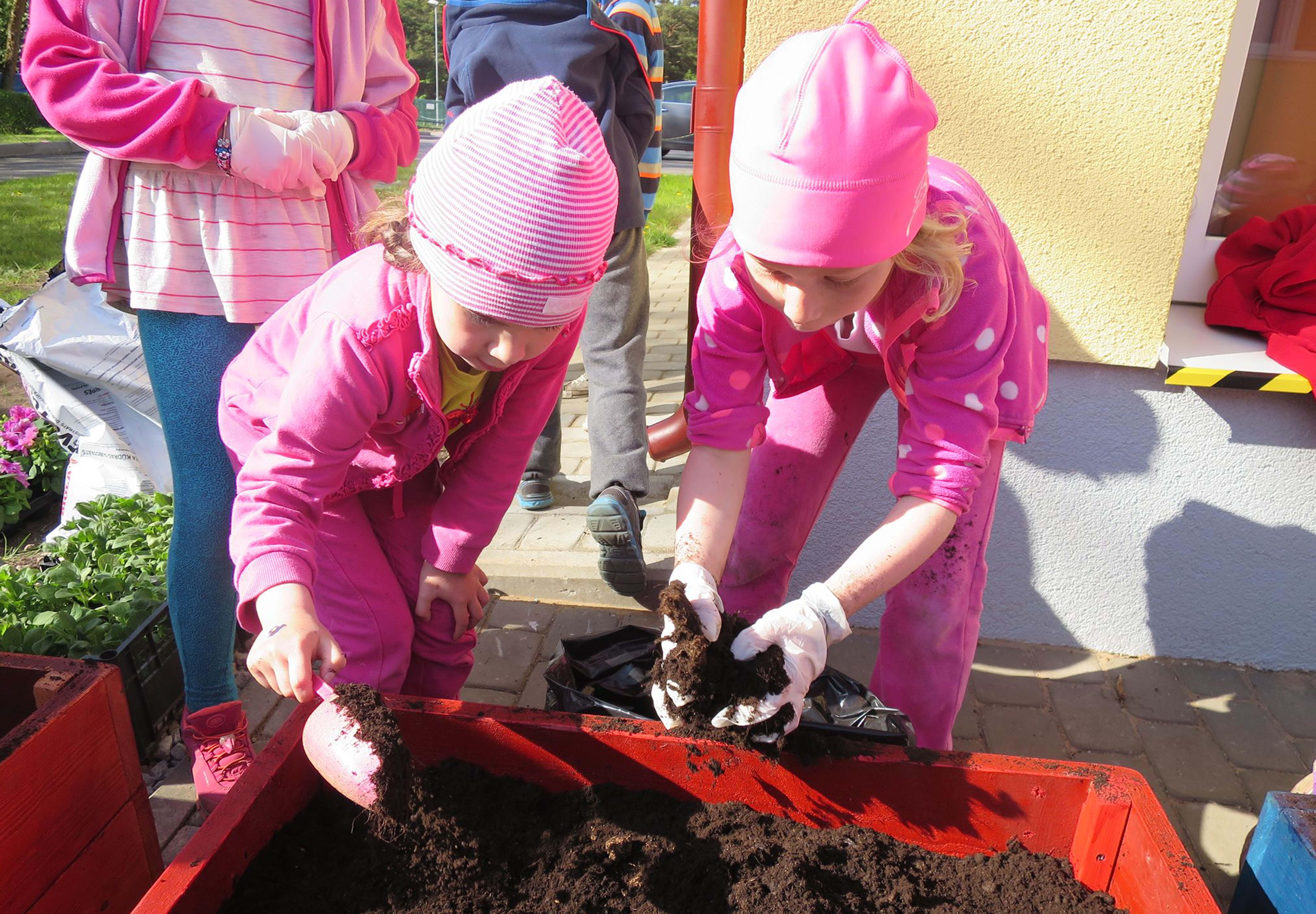 """Täna istutame ise lilli. Piltidel on """"Ettevõtliku kooli"""" programmi kuuluva Voka lasteaia Naksitrallid lapsed. – http://vokalasteaed.edu.ee/. Fotod: Berit Baun"""