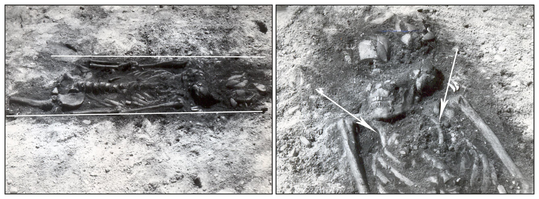 JOONIS 3. Kivisaare XXa matus. Hauas olnud täiskasvanu oli sinna asetatud selili, väljasirutatud üla- ja alajäsemetega. Luustiku, eelkõige rindkere ja õlavarreluude kokkusurutud asend viitab sellele, et enne hauda asetamist mähiti surnukeha kas loomanahkadesse või mõnda teise aastatuhandete jooksul täielikult hävinud orgaanilisse materjali. Foto: TLÜ AI