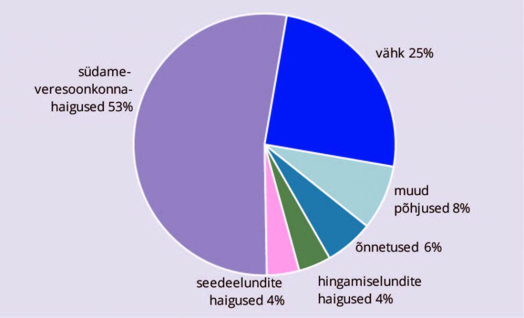 Ülla-Karin Nurm. Joonis 3. Viie levinuma surmapõhjuse osakaal kogu suremusest aastal 2015, %