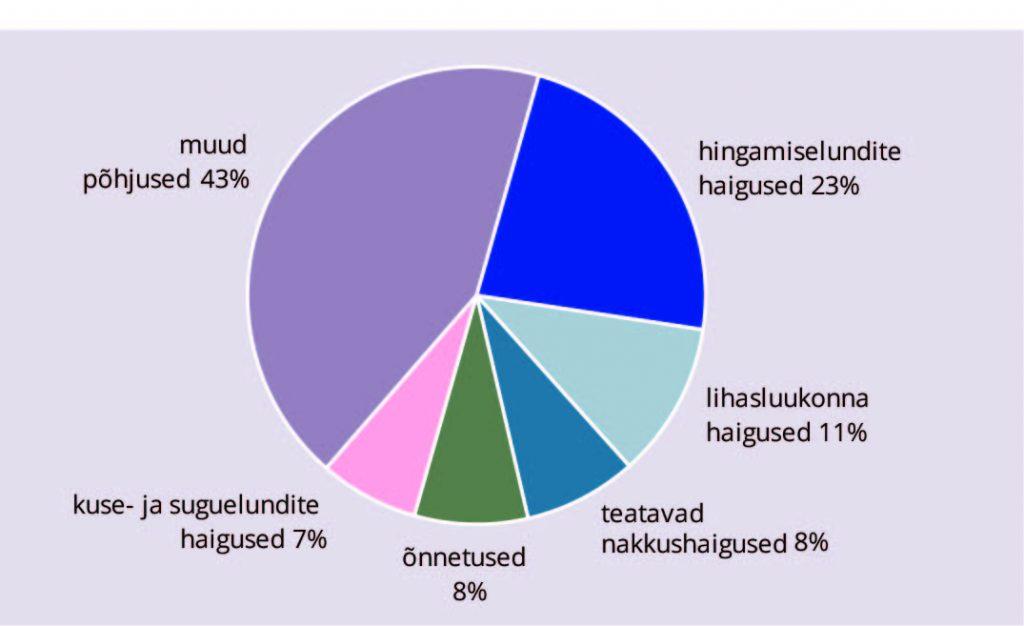 Ülla-Karin Nurm. Joonis 4. Esmashaigestumuse viie levinuma põhjuse osakaal kogu esmashaigestumusest aastal 2015, %