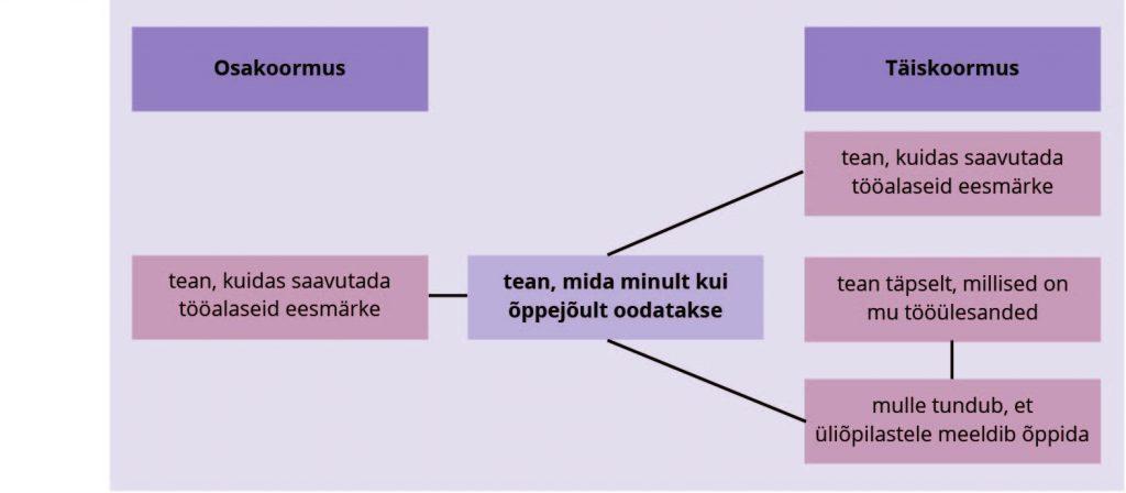 Reino, Vadi. JOONIS 1. Täis- ja osakoormusega akadeemiliste töötajate rollikujutlusega seotud tegurid (korrelatiivsete seoste alusel)