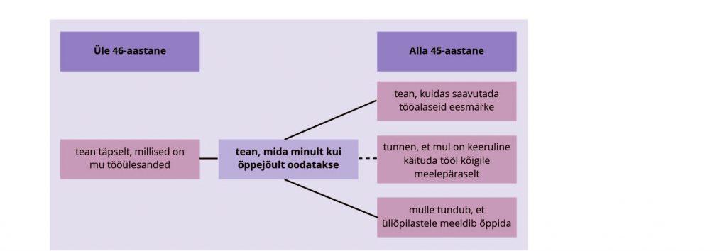 Reino, Vadi. JOONIS 4. Akadeemiliste töötajate rollikujutlusega seotud tegurid alla 45-aastaste ja üle 46-aastaste töötajate arvamuste võrdluses