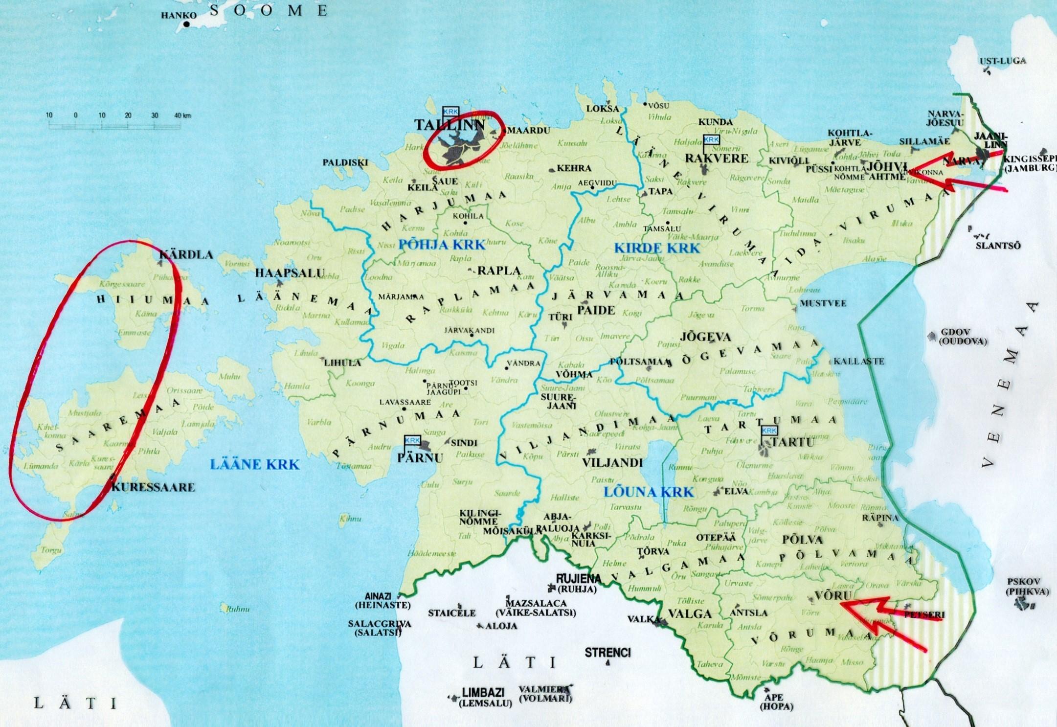 JOONIS 1. Riigi jagunemine sõjalis-territoriaalseteks üksusteks – kaitseringkondadeks ja nende peamised kaitsetegevuse raskuspunktid
