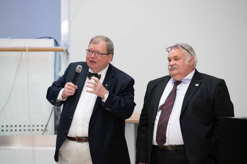 Andres Metspalu ja Enn Lust Eesti teaduse tippkeskuste infopäeval Tartus, Omicumis 25.05.2018.