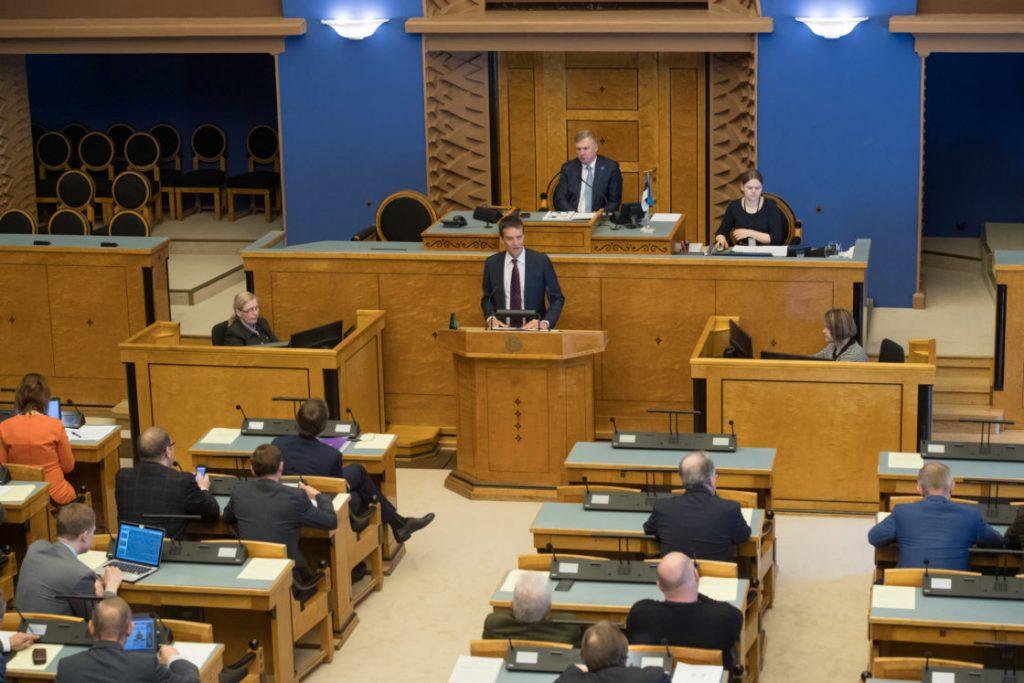 Riigikogu täiskogu istung 3. mail 2018. Eesti Panga president Ardo Hansson tutvustab Eesti Panga 2017. aasta aruannet. Foto: Erik Peinar