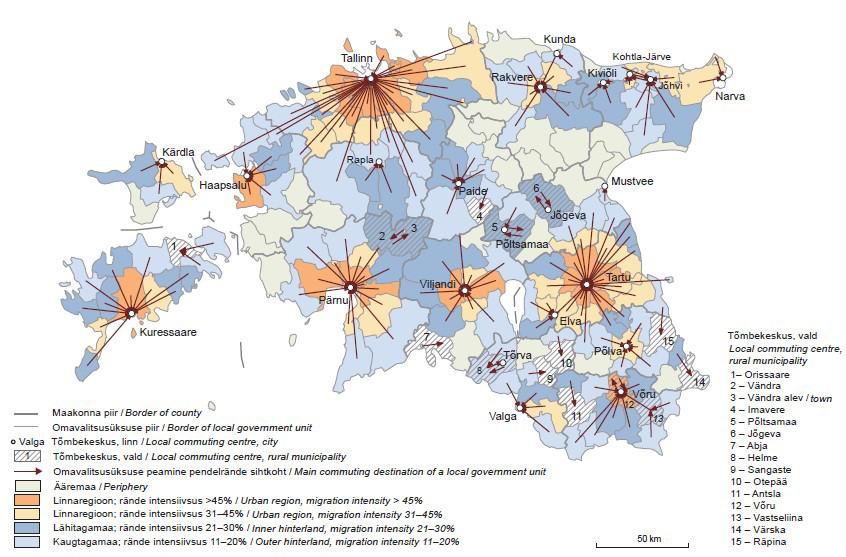JOONIS 1. Eesti tööjõuareaalid (funktsionaalsed linnaregioonid) (a) ja üle 5000 elanikuga toimepiirkonnad (b) 31.12.2011