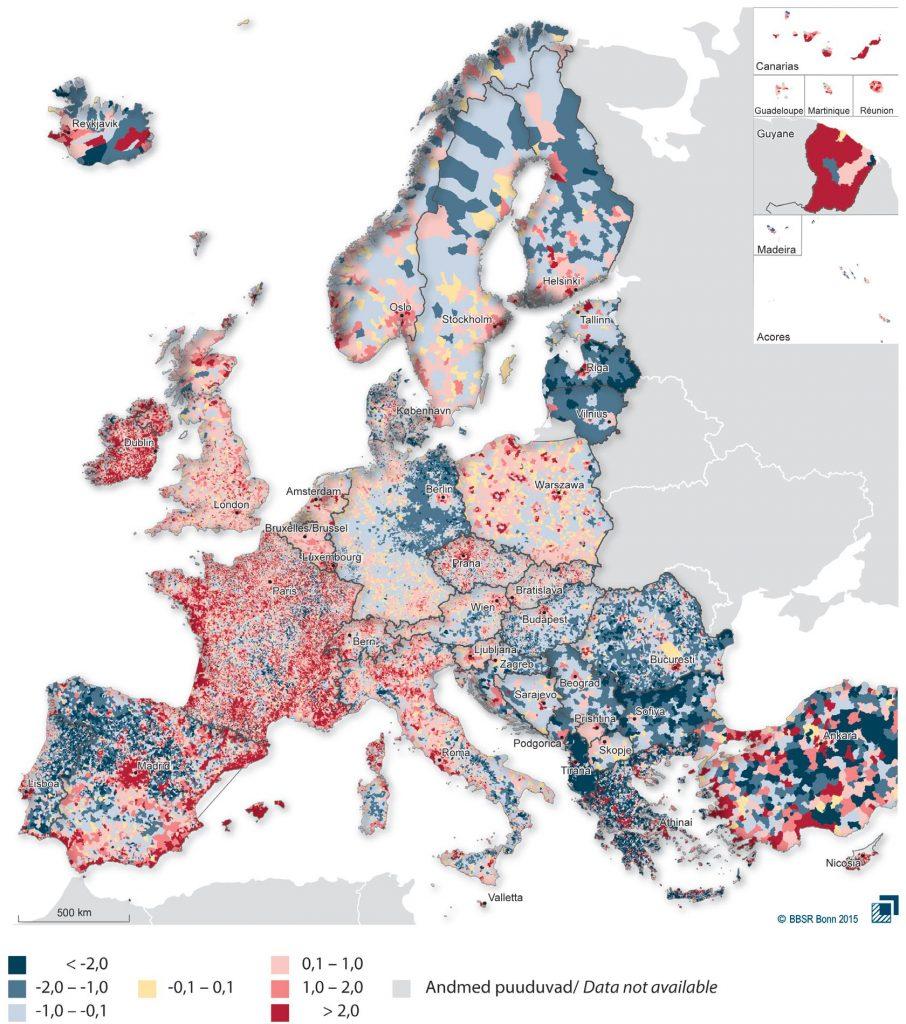 JOONIS 4. Rahvaarvu muutus Euroopa omavalitsustes (LAU 2) 2001–2011