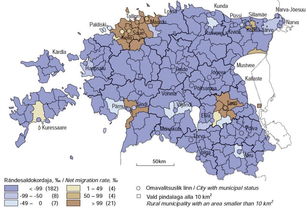 JOONIS 5. Noorte, 15–29-aastaste (a) ja vanemaealiste, 50–69-aastaste (b) rändesaldokordaja omavalitsuseti 2000–2011