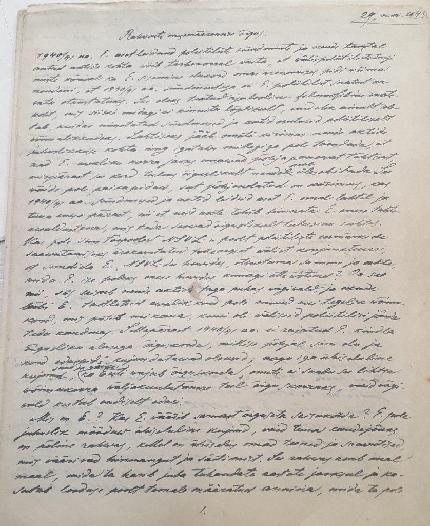 """Nikolai Maimi käsikirjalise loengumaterjali """"Enesemääramise õigus"""" esileht."""