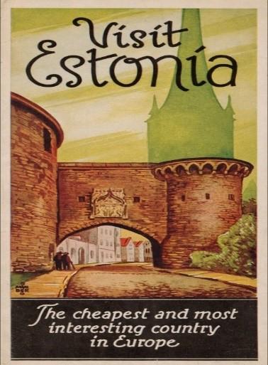 """Eestit tutvustav brošüür """"Visit Estonia"""", 1934. Koostajad Turismi Keskkorraldus Eestis ja Eesti Turistide Ühing."""