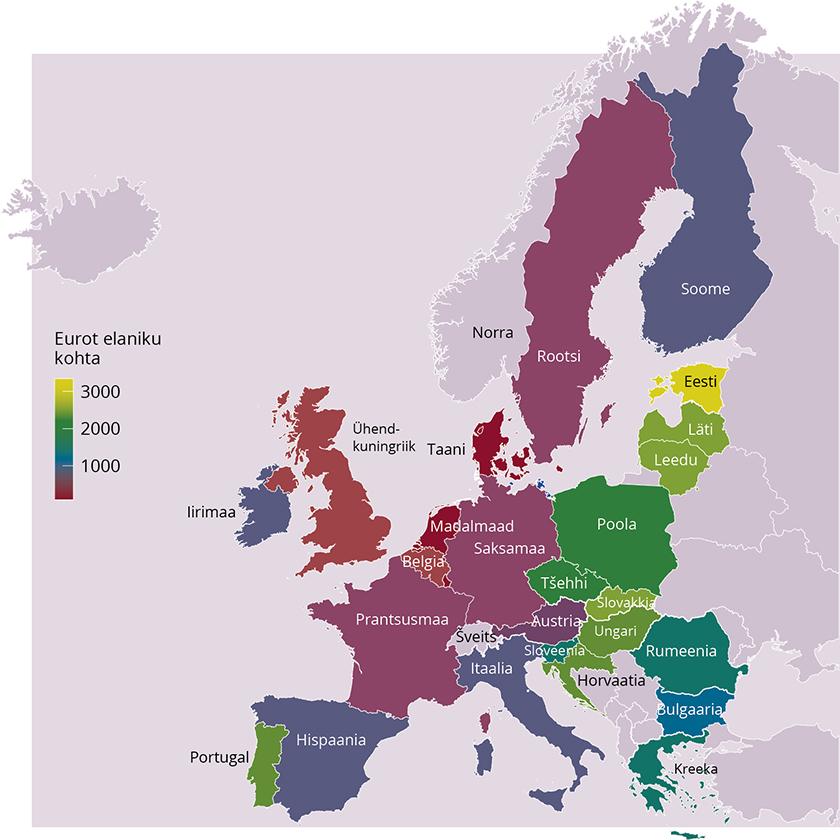 Joonis 1. Ühtekuuluvuspoliitika struktuuritoetuste ELi eelarve elaniku kohta