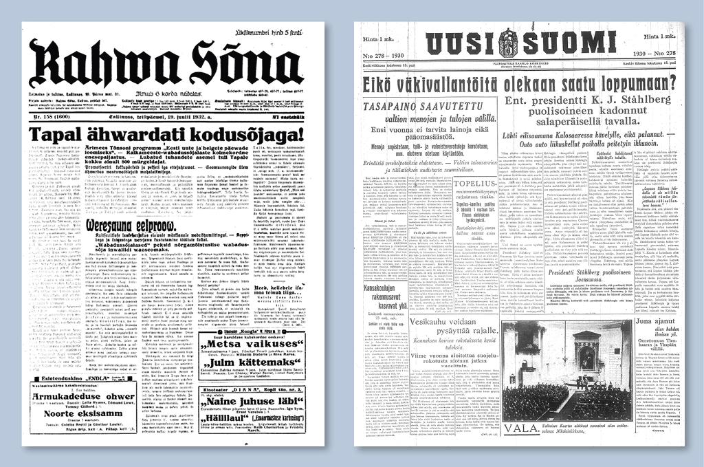 Eesti lehed hoiatasid, et poliitiline vägivald võib kujuneda samasuguseks nagu Soomes, kus küüditati endine president Ståhlberg
